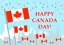 Happy Canada Day celebration concept. Editable Clip art. Canadian Flags and Confetti for Happy Canada Day celebration and other Canadian themes vector illustration