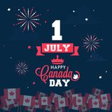 Happy Canada Day celebration concept with stylish text and canad. Ian flags on fireworks background Stock Images