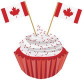 Happy Canada Day Cupcake with Flag Illustration Royalty Free Stock Photos