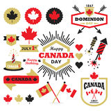 Happy Canada Day design elements set. On white backgroundn Royalty Free Stock Photo