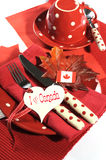 Happy Canada Day dinner party table setting close up Royalty Free Stock Photos