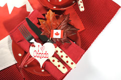 Happy Canada Day dinner party table setting Stock Image