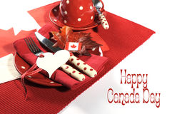 Happy Canada Day dinner party table setting with sample text Stock Image