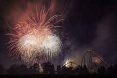 Happy Canada Day. The fireworks showing for celebrating  Canada day in the Canada`s Wonderland Royalty Free Stock Images