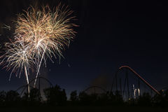 Happy Canada Day. The fireworks showing for celebrating Canada day in the Canada`s Wonderland Stock Photos