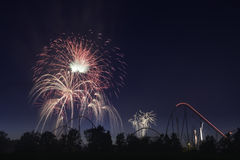 Happy Canada Day. The fireworks showing for celebrating Canada day in the Canada`s Wonderland Royalty Free Stock Photos