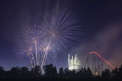 Happy Canada Day. The fireworks showing for celebrating Canada day in the Canada`s Wonderland Stock Image