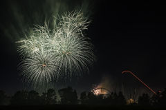 Happy Canada Day. The fireworks showing for celebrating  Canada day in the Canada`s Wonderland Stock Photography