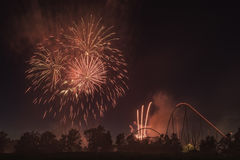 Happy Canada Day. The fireworks showing for celebrating  Canada day in the Canada`s Wonderland Royalty Free Stock Image