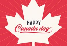 Happy Canada Day, first of july. Vector background illustration. Canadian flag colors and shapes. Retro style with text. Happy Canada Day, first of july. Vector Royalty Free Stock Images