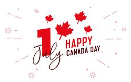 Happy Canada Day, first of july. Vector typographic design illustration. Canadian flag colors and maple leaf shape. Retro style with calligraphic text and Stock Photography