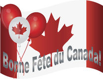 Happy Canada Day Flag and Balloons Illustration. Canadian Flag and Balloons Wishing Happy Canada Day in French Illustration Royalty Free Stock Photo