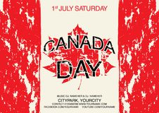 Happy Canada Day Flyer template. Canada flag with fireworks for celebrate the national day of Canada.  Royalty Free Stock Photo