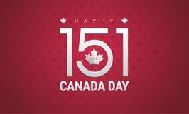 Happy Canada Day greeting card - Canada flag, maple leaf, 151 ye. Ars Canada Independence day celebration - vector illustration stock illustration