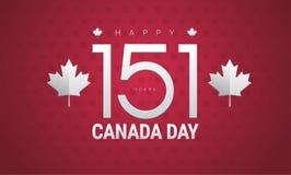 Happy Canada Day greeting card - Canada Independence day vector. Happy Canada Day greeting card - Canada flag, maple leaf, 151 years Canada Independence day vector illustration