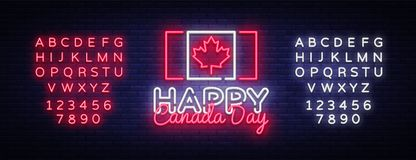 Happy Canada Day Greeting Card Design template modern trend style. Canadian Day Neon sign, light banner. 1 July Canadian. Day. Vector illustration. Editing text Stock Images