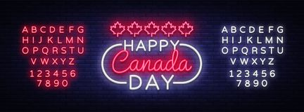 Happy Canada Day Greeting Card Design template modern trend style. Canadian Day Neon sign, light banner. 1 July Canadian. Day. Vector illustration. Editing text Stock Photography
