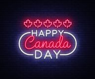 Happy Canada Day Greeting Card Design template modern trend style. Canadian Day Neon sign, light banner. 1 July Canadian. Day. Vector illustration Royalty Free Stock Images