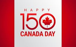 Happy Canada Day greeting card - Canada flag, maple leaf, 150 ye. Ars Canada Independence day anniversary celebration - vector illustration Royalty Free Stock Photos