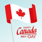Happy Canada Day greeting card with waving canadian national flag and hand lettering text design. Stock Illustration