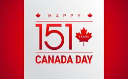 Happy Canada Day greeting card - 151 years Canada Independence d Royalty Free Illustration