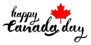 Happy Canada Day hand drawn black vector lettering with red mapple leaf stock illustration