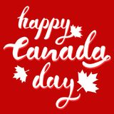 Happy Canada Day hand drawn white and red vector lettering with mapple leaves and shadows vector illustration
