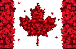 Happy Canada Day handdrawn lettering. Maple leaves texture Stock Photo