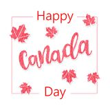 Happy Canada Day. Greeting card. Poster of 1st july with Maple leaves. Vector illustration eps 10 Stock Photography