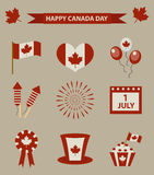 Happy Canada Day icon set, design elements, vintage style. July 1 National Day of Canada holiday collection of objects Stock Photography