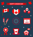 Happy Canada Day icons set, design elements, flat style. July 1 National Day of Canada holiday collection of objects Stock Photo