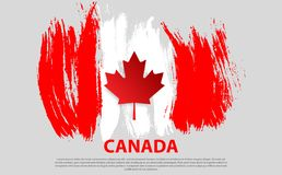 Happy Canada Day, july 1 holiday celebrate card. Maple leaf on flag made in brush stroke background. Vector Illustration. First day of July a Public Holiday by Stock Image