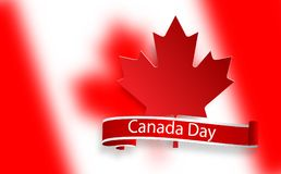 Happy Canada Day, july 1 holiday celebrate card. Maple leaf on flag made in brush stroke background. Vector Illustration. First day of July a Public Holiday by Royalty Free Stock Photo