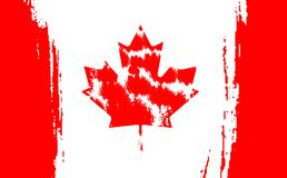 Happy Canada Day, july 1 holiday celebrate card. Maple leaf on flag made in brush stroke background. Vector Illustration. First day of July a Public Holiday by Stock Photo
