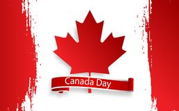 Happy Canada Day, july 1 holiday celebrate card. Maple leaf on flag made in brush stroke background. Vector Illustration. First day of July a Public Holiday by Stock Photos