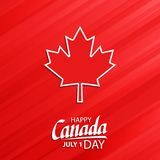 Happy Canada Day, july 1 national holiday celebrate card with maple leaf symbol and hand lettering. stock illustration