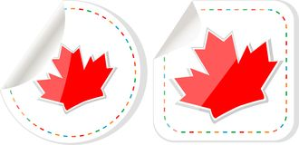 Happy Canada Day maple leaf card stickers set Royalty Free Stock Photography
