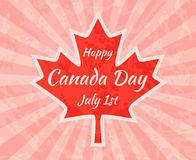 Happy Canada Day on Maple Leaf Royalty Free Stock Photo