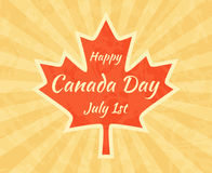 Happy Canada Day on Maple Leaf Royalty Free Stock Image