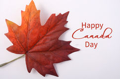 Happy Canada Day Maple Leaf. Happy Canada Day symbolic maple leaf on a white wood table with copy space and sample text Stock Photos