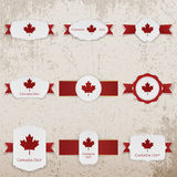 Happy Canada Day paper Banners with greeting Text stock image
