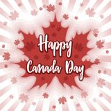 Happy Canada Day - postcard, poster or banner. Maple leaves on festive background. July 1 Royalty Free Stock Photography
