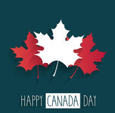 Happy Canada Day poster on blue background with handwritten text and maple leaf Royalty Free Stock Images