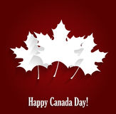 Happy Canada Day poster on red background. Vector illustration Stock Photo