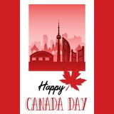 Happy Canada Day poster. 1st july. Happy Canada Day poster. Canadian flag vector illustration greeting card. Canada Red Maple leaf on white background. 1st july Stock Photography
