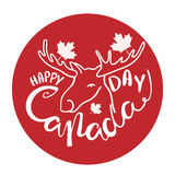 Happy Canada Day poster. Vector illustration greeting card with hand drawn calligraphy lettering and moose Royalty Free Stock Photography