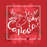 Happy Canada Day poster. Vector illustration greeting card with hand drawn calligraphy lettering and moose Stock Images