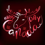 Happy Canada Day poster. Vector illustration greeting card with hand drawn calligraphy lettering and moose Stock Photo