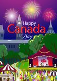 Happy Canada Day poster. Vector illustration. Ottawa park, holiday festival. People on foreground and stage with flag, firework. stock illustration