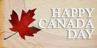 Happy Canada Day. Sandstone background with maple leafs. Handwritten text. Vector illustration.illustration Royalty Free Stock Photo